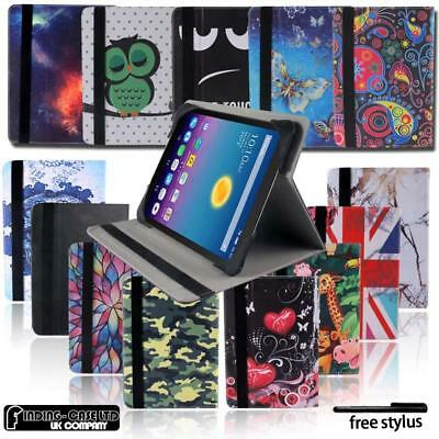 """Folio Leather Rotating Stand Cover Case For 7"""" 8"""" Alcatel OneTouch Tablet"""