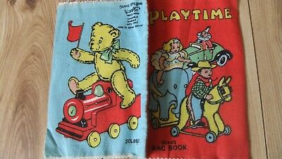 "Vintage ""playtime"" Deans Rag Cloth Book Vintage Baby Fabric Books"