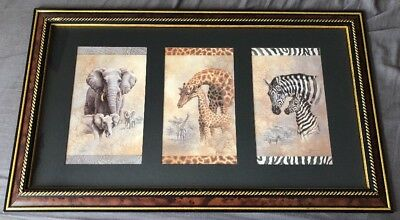 HOME INTERIORS Safari Print Picture Giraffe Elephant Zebra Africa By Gibson