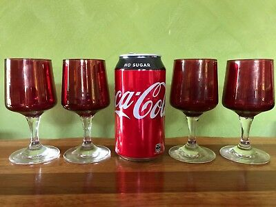 Vintage Set of 4 ruby red liqueur/port/wine glasses with clear stems