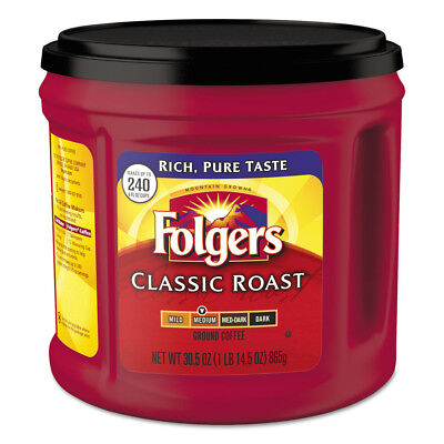 Folgers Coffee, Classic Roast, Ground, 30.5 Oz Canister, 6/carton 20421CT NEW