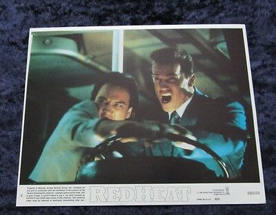 RED HEAT original lobby card  ARNOLD SCHWARZENEGGER, JIM BELUSHI  mini UK card