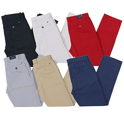 Tommy Hilfiger Mens Chino Pants Custom Fit Flat Front Bottoms Flag Logo New Nwt