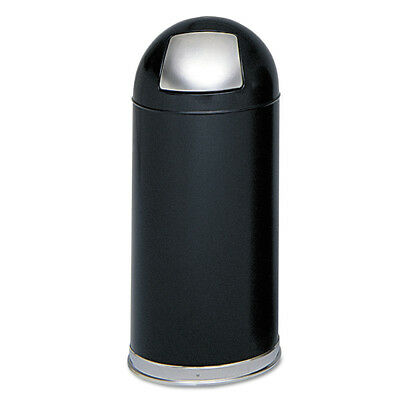 Safco Dome Receptacle W/spring-Loaded Door,Round,Steel,15gal,Black 9636BL NEW