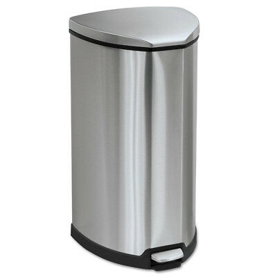 Safco Step-On Waste Receptacle Triangular SS 10gal Chrome/black 9687SS NEW