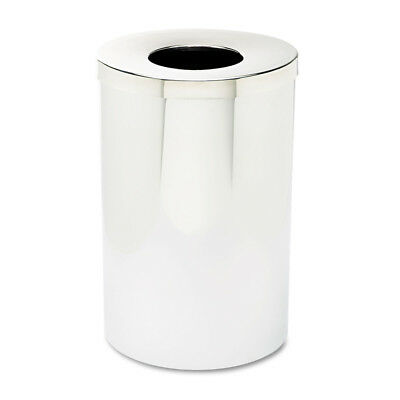 Safco Reflections Open-Top Receptacle,Round,Steel,35gal,Chrome/black 9695 NEW