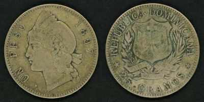 1897 Dominican Republic Crown Size Silver Coin  One or Un Peso Nice F+