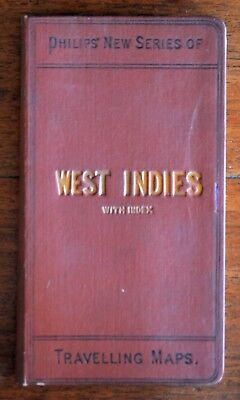 WEST INDIES Philips' New Series of Travelling Maps Cubs, Jamaica, Puerto Rico