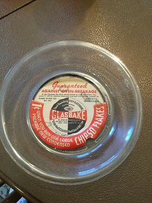 "Vintage 7"" GlasBake Pie Plate Promo From Chipso Flakes With Promo Label"