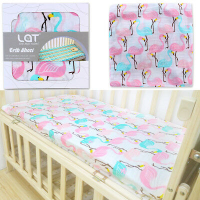 LAT 100% Cotton Muslin Baby Crib Sheet Fitted Toddler Mattress Bedding Sheets