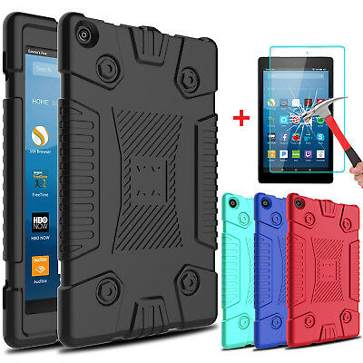 For Amazon Kindle Fire HD 8 2017 Slim Soft Silicone Case Cover+Screen Protector