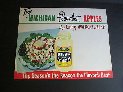 Vintage 1960 Grocery Store Window Sign Michigan APPLES Hellmann's Waldorf Salad