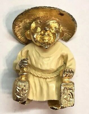 Vintage Gold Tone Asian Style White Robed Man with Drinks Brooch Pin