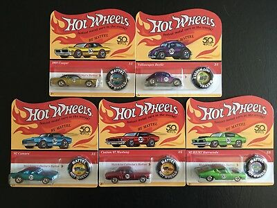 Hot Wheels 50th Anniversary Redline Originals 2018 Set of Five Cars - FREE SHIP