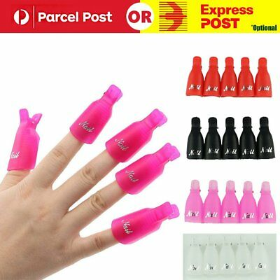 10X Colorful Plastic Nail Art Soak Off Clip Cap UV Gel Polish Remover Wrap Tool