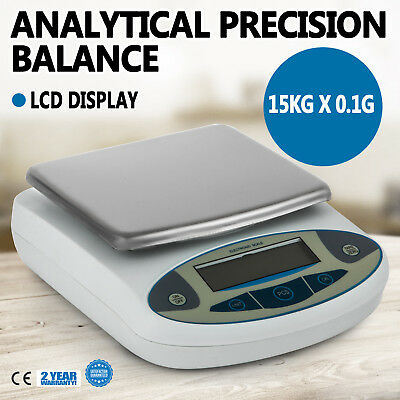LCD Lab Analytical Balance Digital Precision Scale 15000 x 0.1g 15kg 33lbs
