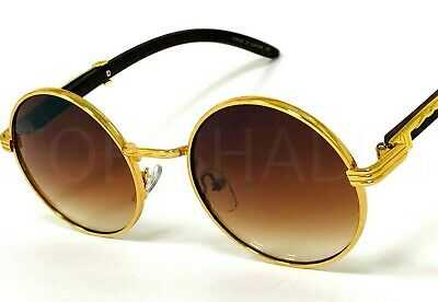 ae4ffcd26f0 Wood Temple Buffs Migos Sunglasses Round Gold Frame Brown Lens New  Eyeglasses