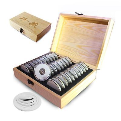 30x Commemorative Capsules Coin Holder Case Storage Wood Box 20-40mm Adjustable