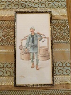 Original Vintage Japanese Watercolor of man signed Ryuto
