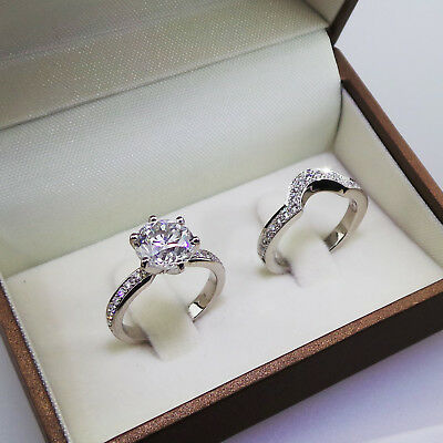 3.00ct Round Brilliant Cut Diamond Engagement Ring Matching Band in 925 Silver