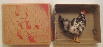 Old Unique Box w/ Feather Covered Miniature Chicken for Christmas or Easter Putz
