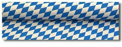 1 Paper Table Cover White Blue, 100 cm x 50m, Damast, Bavaria, Bavarian