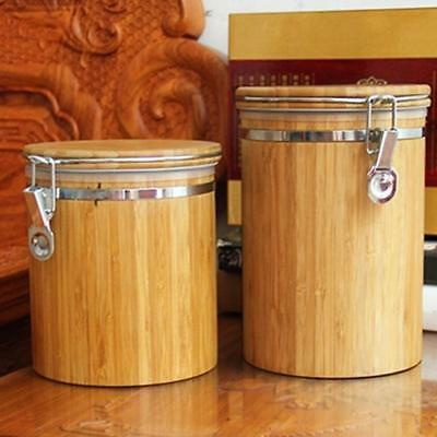 Wooden Coffee Tea Canister Jar Box Sugar Storage Pot Food Wood Seal Can Kitchen