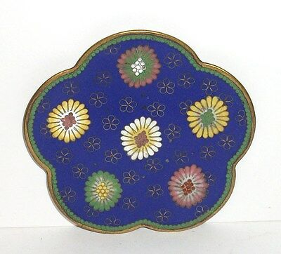 Small Cloisonne Royal Blue Enamel Scalloped Pin Tray Plate