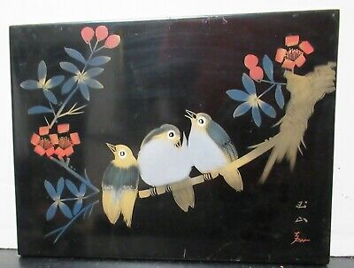 Japanese Birds On Blossom Lacquer Panel Painting