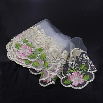 Mesh Embroidered Floral Tulle Lace Trim Bridal Dress Ribbon Sewing Decor 2-3 Yds