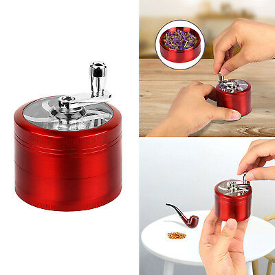 4 Piece Hand Crank Herb Mill Crusher Tobacco Smoke Grinder With Scraper US Stock