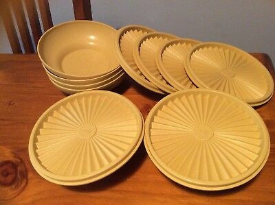 Tupperware Harvest Gold Vintage Servalier Bowl Set Of 6