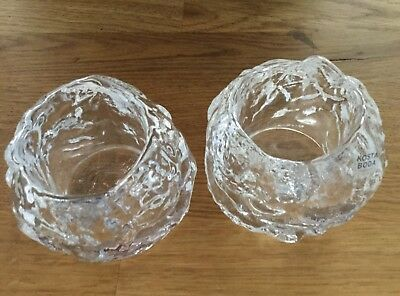 Pair Of Ice Kosta Boda Candle Holders