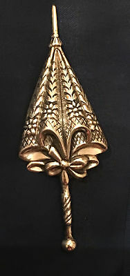 Vtg Sterling Silver Umbrella Parasol Floral Repousse Brooch Pin Antique Lang