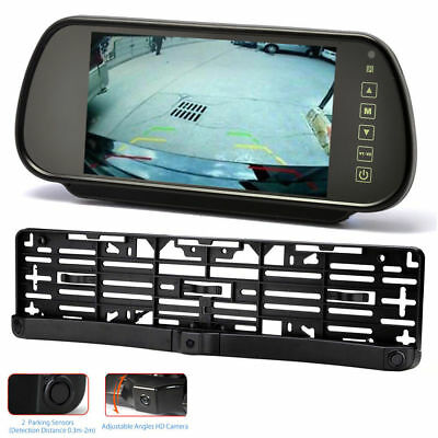 "Car Number Plate Parking Sensors & Reverse Camera + 7"" LCD Clip-on Monitor"