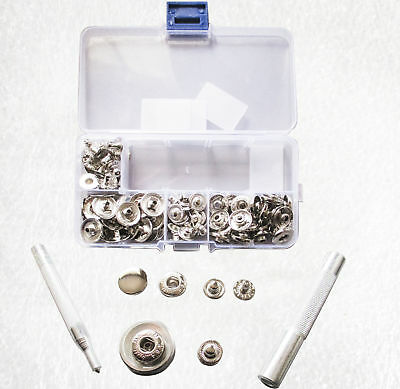15mm Snap fasteners Press studs with hand setters, hole punch in case