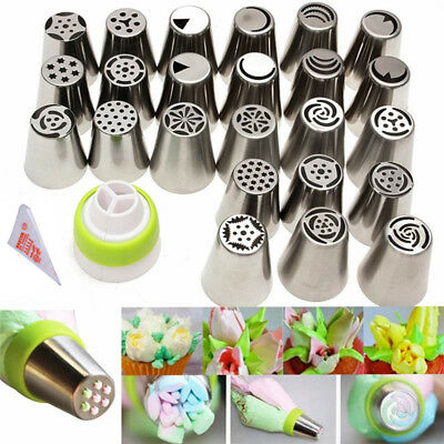 24PCS Russian Flower Icing Piping Nozzles Cake Decorating Tips Baking Tools US