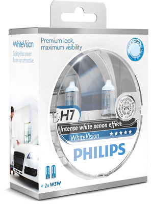 Philips White Vision Headlight Halogen Bulbs Xenon Effect H7 Twin Pack