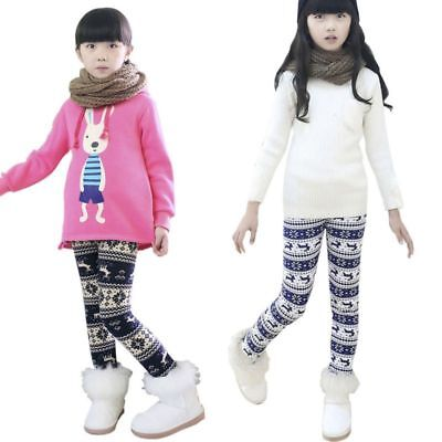 Baby Kids Girls Winter Fleece Bottoms Leggings Warm Thick Lined Pants Trousers