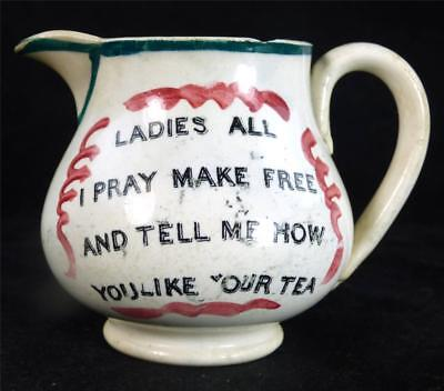 """C1850 Antique English Earthenware Motto Jug """"tell Me How You Like Your Tea"""""""