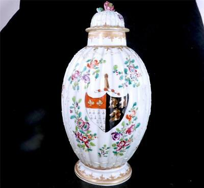 Antique 19Th Century French Edme Samson Porcelain Chinese Armorial Vase & Cover
