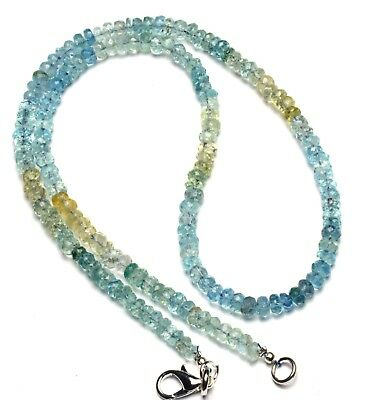 """Natural Gemstone Faceted Aquamarine 3 to 4MM Rondelle Beads Necklace 16.5"""""""