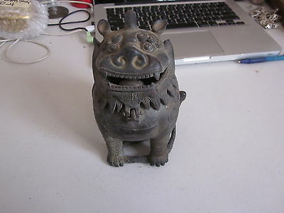 Ming Dynasty style Bronze Foo Dog/Snake Incense Burner [stylized]