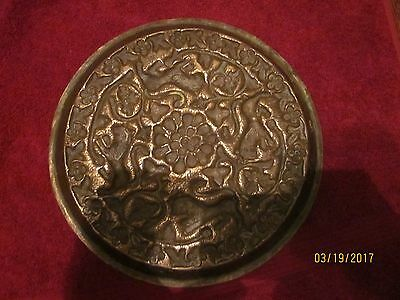 Antique Islamic or Kashmiri Repousse Brass Serving Tray, animals all around