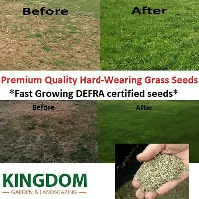 Grass Seed Hard Wearing Lawn Seeds Premium Tough Fast Growing Defra Certified