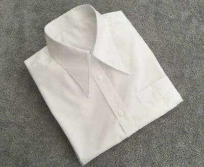 """Men's white 1940's vintage style WWII 16"""" spearpoint collar shirt with pocket"""