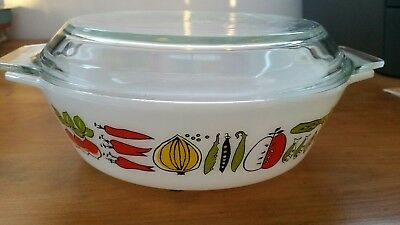 Vintage Retro JAJ Pyrex small 509 Casserole Dish & Lid Harvest Vegetable 1960s