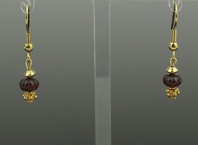 ANCIENT ROMAN GOLD & RUBY EARRINGS - CIRCA - 2nd Century AD 980