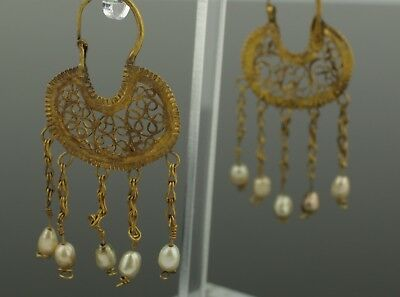 ANCIENT BYZANTINE GOLD & PEARL EARRINGS - CIRCA - 6th/7th Century AD