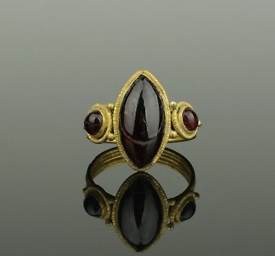 SUPER ANCIENT BYZANTINE GOLD & GARNET RING - 6th/9th Century AD